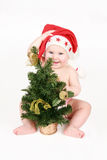 The happy gnome with a Christmas fur-tree Royalty Free Stock Photography