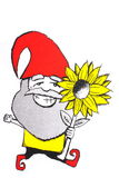 Happy gnome with sunflower Stock Image