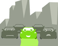 Happy go green. A happy green car among grey cars in a polluted city Stock Photo