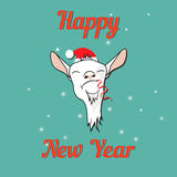 Happy goat on new year card. With tinsel in the mouth stock illustration