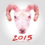 Happy goat year polygon Royalty Free Stock Photo