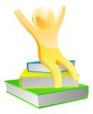 Happy gold book mascot concept Stock Photo