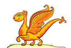 Happy Gold Dragon Royalty Free Stock Image