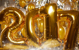 Happy 2017 gold New Year Balloons Royalty Free Stock Image