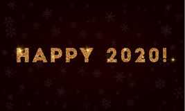 Happy 2020!. Golden glitter greeting card. Luxurious design element, vector illustration Royalty Free Stock Image
