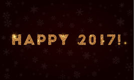 Happy 2017!. Golden glitter greeting card. Luxurious design element, vector illustration Royalty Free Stock Photography