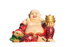 Happy golden laughing Buddha figurine isolated on a white backgr Royalty Free Stock Photo