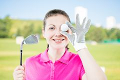 Happy golfer funny portrait. On a background of golf courses Stock Images