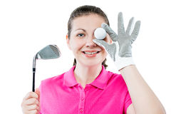 happy golfer funny portrait on white Royalty Free Stock Images
