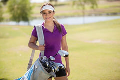 Happy golfer ready to play Royalty Free Stock Photography