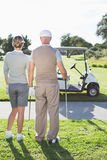 Happy golfing couple looking out to the course Stock Photography