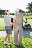Happy golfing couple smiling at each other Stock Photography