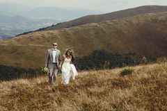 Happy gorgeous bride and groom walking  in sun light holding han Stock Photos