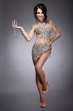 Happy Gorgeous Woman Holding Wineglass of Champagn Stock Images