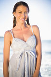 Happy gorgeous woman in summer dress posing Royalty Free Stock Image