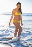Happy gorgeous woman in yellow bikini Stock Photography