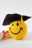 Happy grad. Toy in a mortar board with diploma Stock Photography
