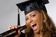 Happy Graduate Drinking Stock Photography