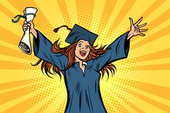 Happy graduate girl student of the College or University. Comic book cartoon pop art retro illustration vector Stock Photos