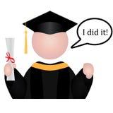 Happy Graduate Icon. Graduation student icon with speech bubble saying I did it Stock Photo