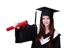 Happy graduate student girl with diploma Stock Image