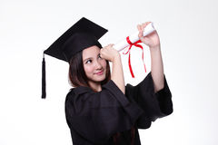 Happy graduate student girl with diploma Stock Photos