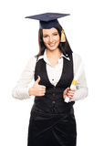 Happy graduate student girl holding hands up Stock Image
