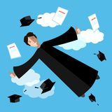 Happy graduate student in the sky. Flying graduate student in academic clothing. Education, university background. Happy graduate student in the sky. Flying Royalty Free Stock Photography
