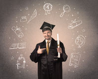 Happy graduate teenager with hand drawn school icons Royalty Free Stock Images