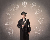 Happy graduate teenager with hand drawn school icons Stock Images