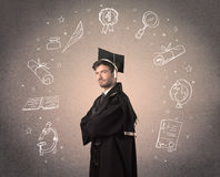Happy graduate teenager with hand drawn school icons Stock Image