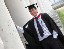 Happy graduate at uni Royalty Free Stock Photos