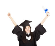 Graduate woman Holding Degree Royalty Free Stock Photography