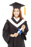 Happy Graduate woman Holding diploma.isolated on white Royalty Free Stock Images