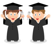 Happy Graduated Kids. Two happy graduated kids with graduation hat and diploma. Eps file available Royalty Free Stock Images