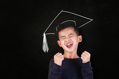 Happy Graduated Student Boy. Success concept, portrait of happy young Asian student boy showing enthusiastic winning gesture, shout with joy of victory, over Stock Image