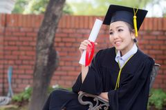 Happy graduated student girl, congratulations - graduate education success. Concept education royalty free stock images