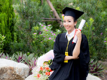 Happy graduated student girl, congratulations - graduate education success. Royalty Free Stock Images