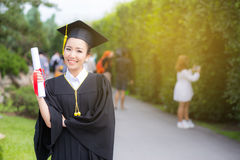 Happy graduated student girl, congratulations. Happy graduated student girl hold certificate - congratulations of education success royalty free stock photo