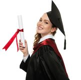 Happy graduated student girl Stock Images