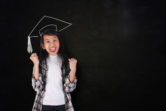 Happy Graduated Student Girl Showing Victory Royalty Free Stock Image