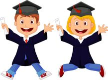 Happy graduates cartoon Stock Photography