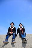 Happy graduates student look sky Royalty Free Stock Photography