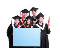 Happy graduates student show billboard Stock Image