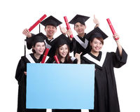 Happy graduates student show billboard Royalty Free Stock Photography
