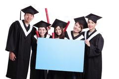 Happy graduates student show billboard. Group of happy graduates student show blank billboard isolated on white background, asian stock images