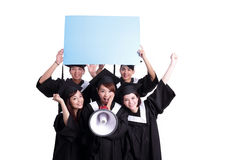 Happy graduates student show billboard Royalty Free Stock Image