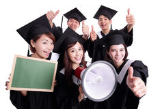 Happy graduates student show chalkboard. Group of happy graduates student show Blank green chalkboard and shout by megaphone isolated on white background, asian Stock Images