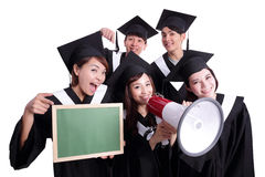 Happy graduates student show chalkboard Stock Photography