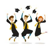 Happy graduates or students throw hats. Education, college, school, graduation concept. Cartoon vector illustration. Happy graduates or students throw hats Royalty Free Stock Images